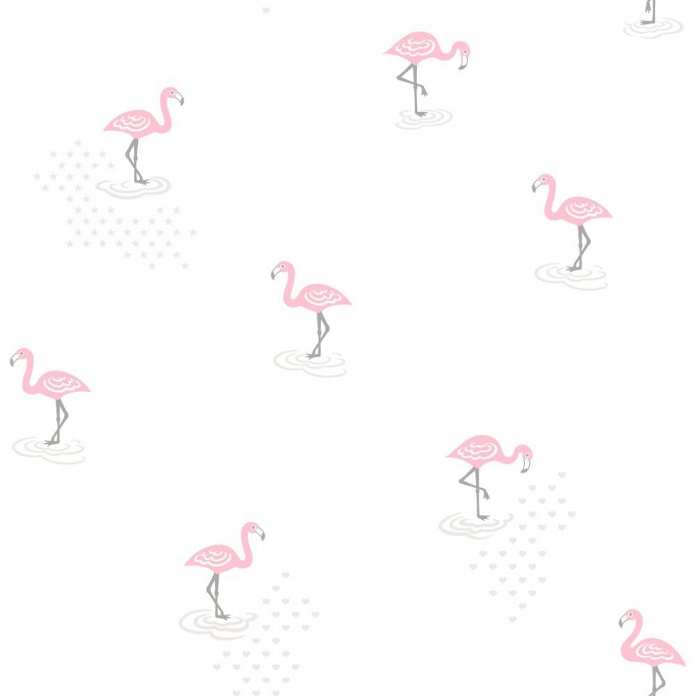Behangpapier Flamingo Wit