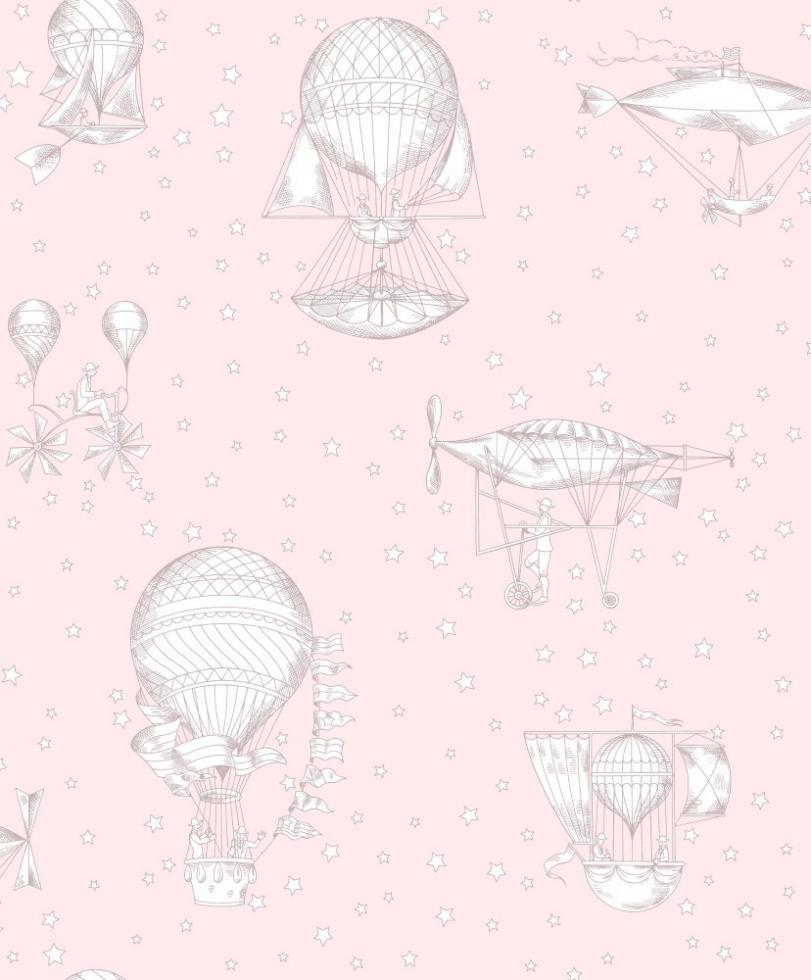 Behangpapier Luchtballon Roze