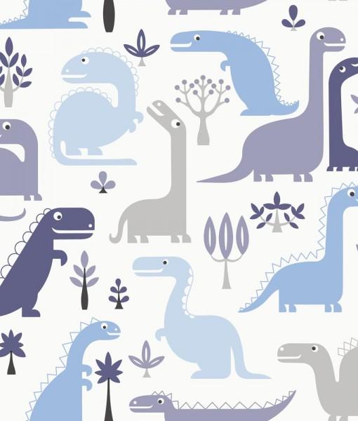 Behangpapier Dino Blauw